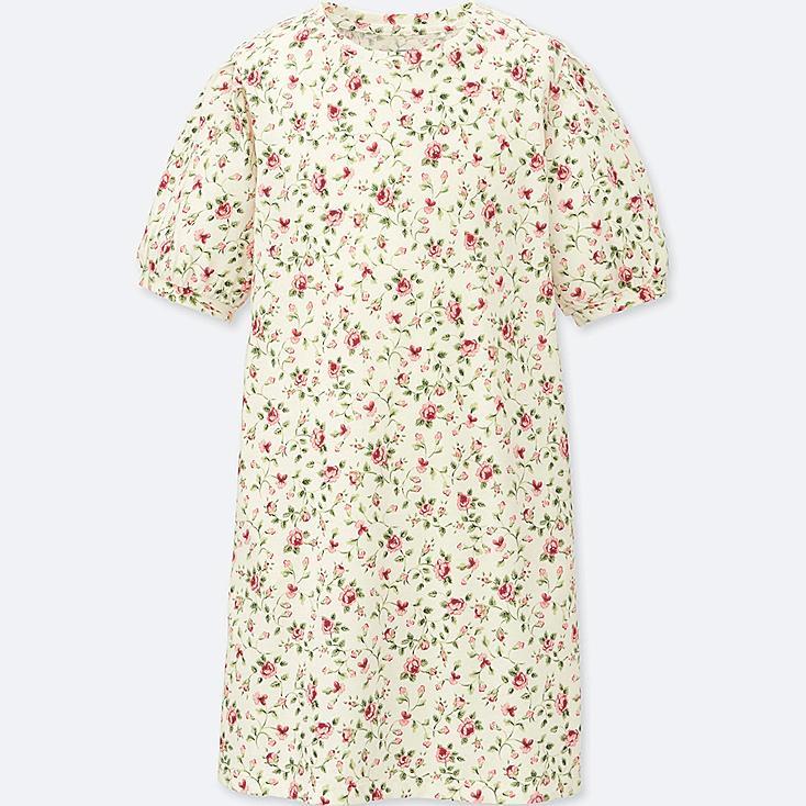 GIRLS STUDIO SANDERSON FOR UNIQLO HALF SLEEVE DRESS, OFF WHITE, large