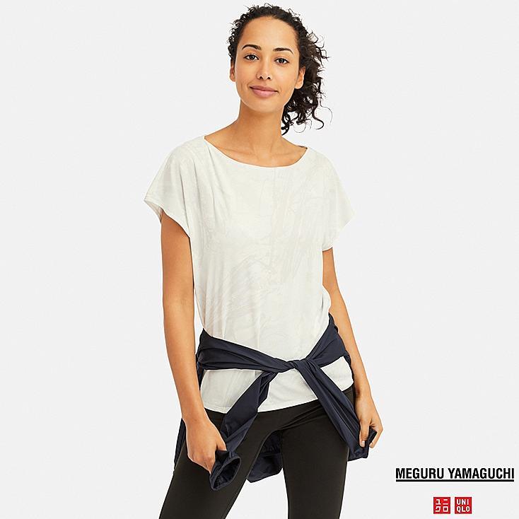 WOMEN DRY-EX MEGURU YAMAGUCHI PRINTED CREW NECK T-SHIRT, OFF WHITE, large