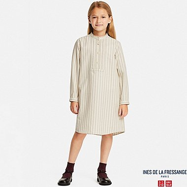 GIRLS INES COTTON TWILL STRIPED SHIRT DRESS