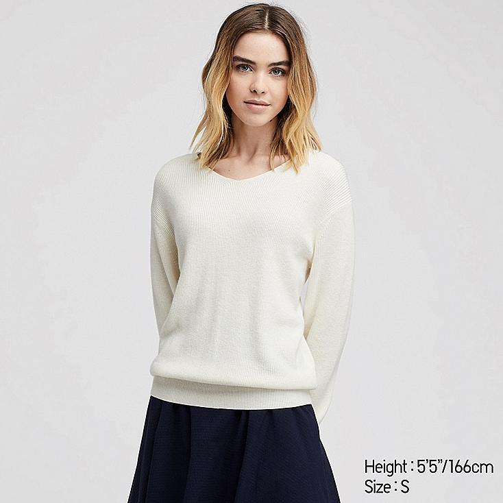WOMEN COTTON CASHMERE V-NECK SWEATER, OFF WHITE, large