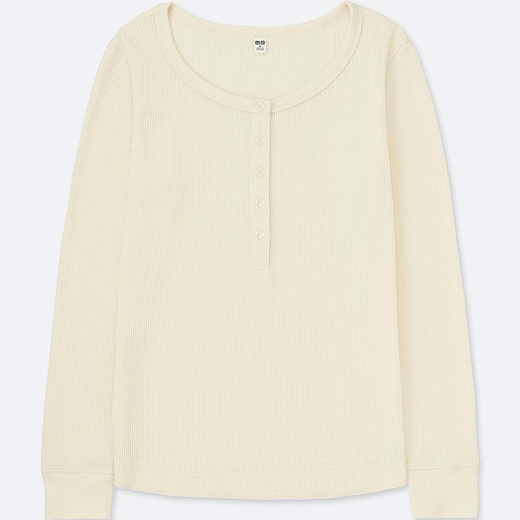 WOMEN WAFFLE HENLEY NECK LONG-SLEEVE T-SHIRT, OFF WHITE, large