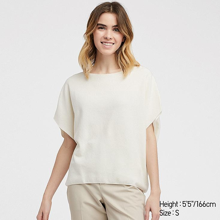 WOMEN 3D COTTON COCOON CREW NECK SHORT-SLEEVE SWEATER, OFF WHITE, large
