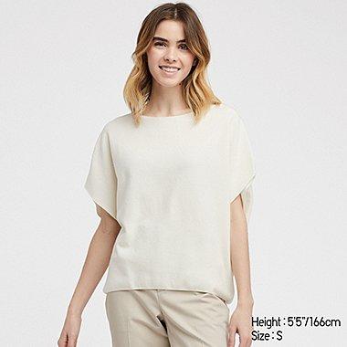 WOMEN 3D COTTON COCOON CREW NECK SHORT-SLEEVE SWEATER, OFF WHITE, medium