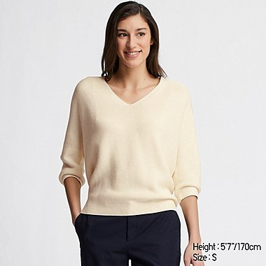 WOMEN 3D COTTON KNIT COCOON V NECK 3/4 SLEEVED JUMPER