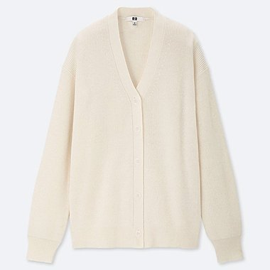 WOMEN COTTON CASHMERE V-NECK CARDIGAN, OFF WHITE, medium