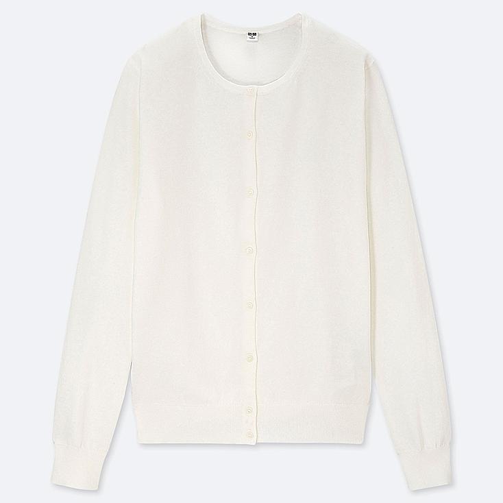 WOMEN UV CUT SUPIMA® COTTON CREW NECK CARDIGAN, OFF WHITE, large