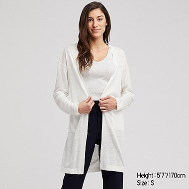 WOMEN LINEN BLENDED LONG-SLEEVE LONG CARDIGAN, OFF WHITE, medium