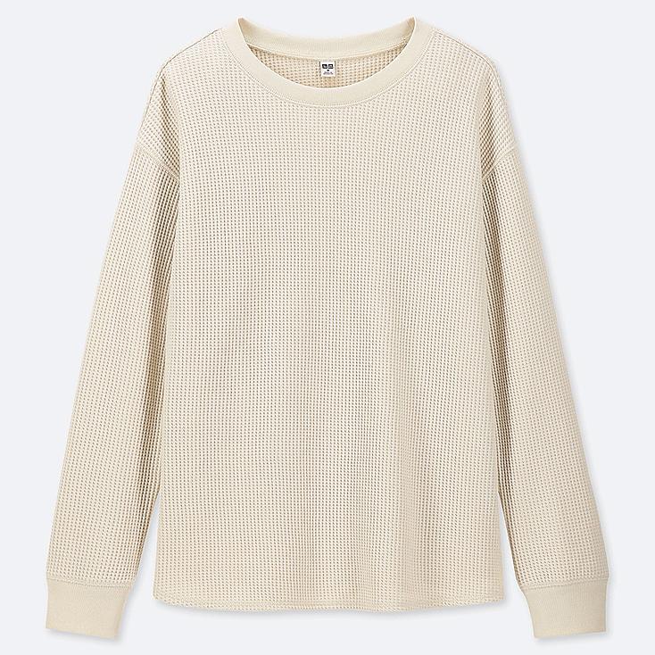 WOMEN WAFFLE CREWNECK LONG-SLEEVE T-SHIRT, OFF WHITE, large