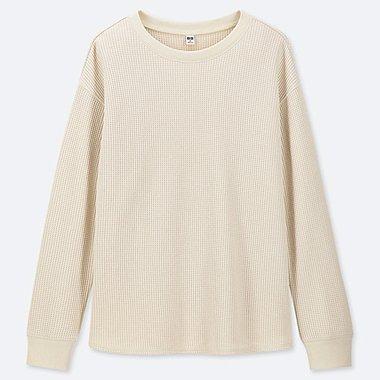 WOMEN WAFFLE CREW NECK LONG-SLEEVE T-SHIRT, OFF WHITE, medium
