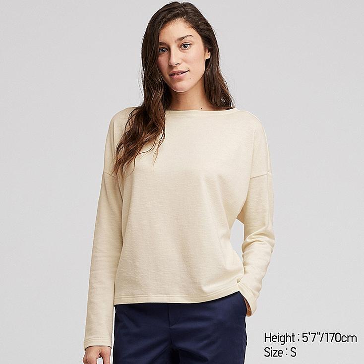 WOMEN STRETCH SLUB JERSEY BOAT NECK LONG-SLEEVE T-SHIRT, OFF WHITE, large
