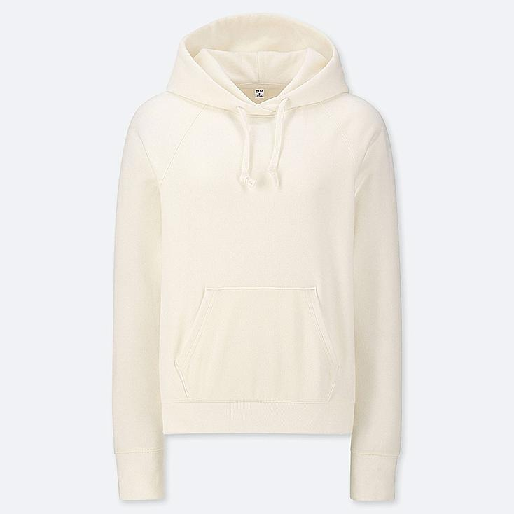 WOMEN LONG-SLEEVE HOODED SWEATSHIRT, OFF WHITE, large