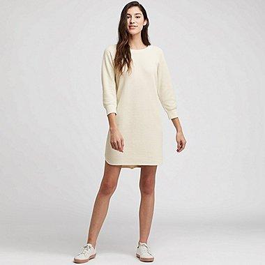WOMEN WAFFLE CREW NECK 3/4 SLEEVE DRESS, OFF WHITE, medium