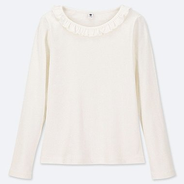 GIRLS RIBBED FRILL CREW NECK LONG-SLEEVE T-SHIRT, OFF WHITE, medium