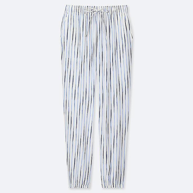WOMEN DRAPE STRIPE JOGGER PANTS, OFF WHITE, large