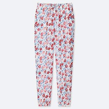 WOMEN DRAPE JOGGER FLORAL PANTS, OFF WHITE, medium