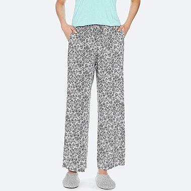 WOMEN DRAPE STRAIGHT HERB-PRINT PANTS, OFF WHITE, medium
