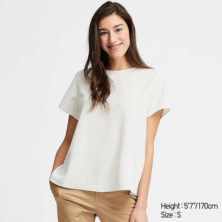 WOMEN DRAPE SHORT-SLEEVE BLOUSE, OFF WHITE, large