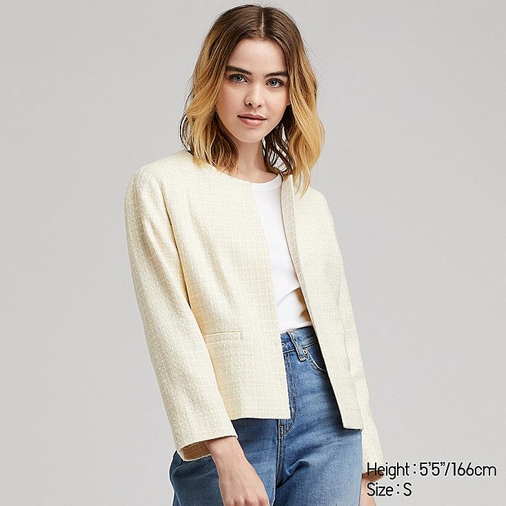 WOMEN TWEED COLLARLESS JACKET (ONLINE EXCLUSIVE), OFF WHITE, large