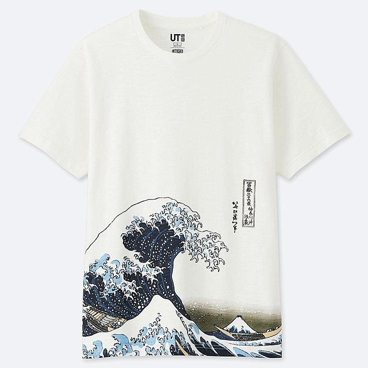MEN HOKUSAI BLUE SHORT-SLEEVE GRAPHIC T-SHIRT, OFF WHITE, large