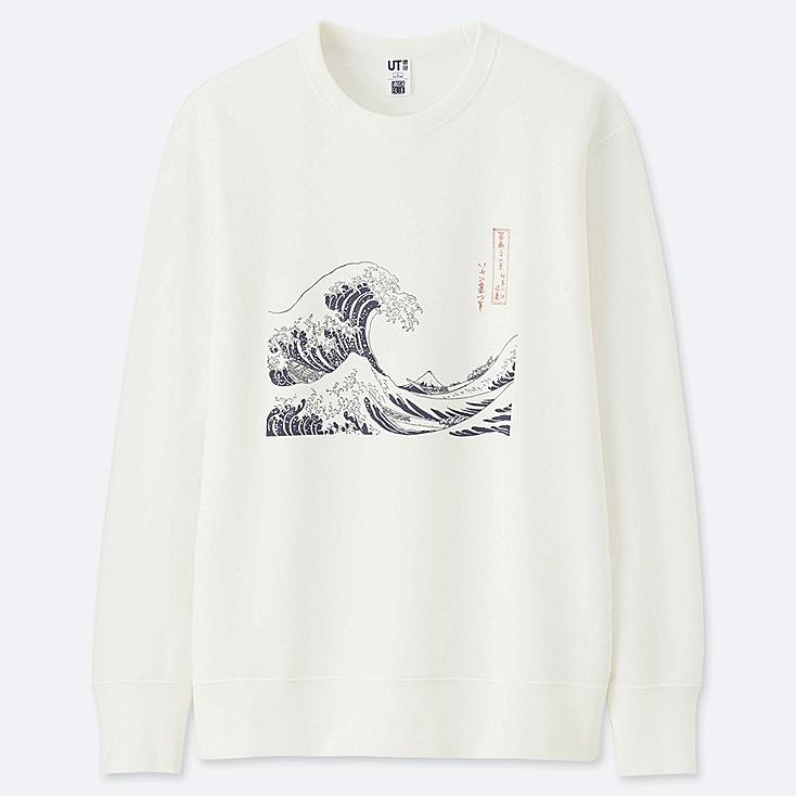 HOKUSAI BLUE GRAPHIC SWEATSHIRT, OFF WHITE, large