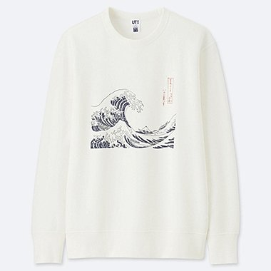 HOKUSAI BLUE GRAPHIC SWEATSHIRT, OFF WHITE, medium