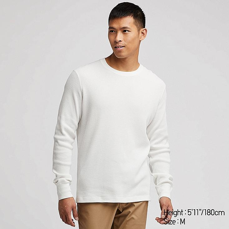 MEN WAFFLE CREW NECK LONG-SLEEVE T-SHIRT, OFF WHITE, large