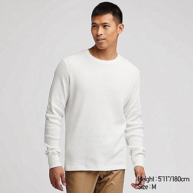 MEN WAFFLE CREW NECK LONG-SLEEVE T-SHIRT, OFF WHITE, medium
