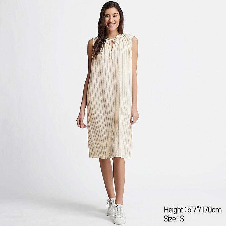 WOMEN LINEN BLEND SLEEVELESS DRESS, OFF WHITE, large