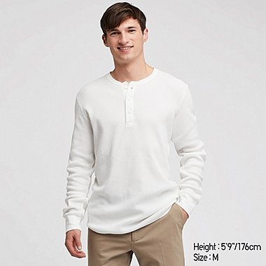 MEN WAFFLE HENLEY NECK LONG-SLEEVE T-SHIRT, OFF WHITE, medium