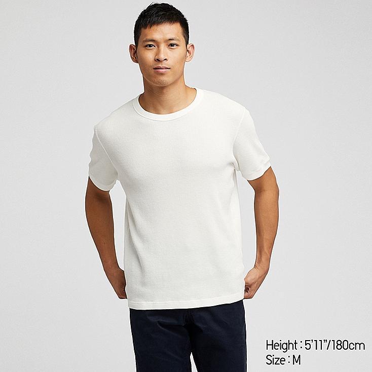 MEN WAFFLE CREW NECK SHORT-SLEEVE T-SHIRT, OFF WHITE, large