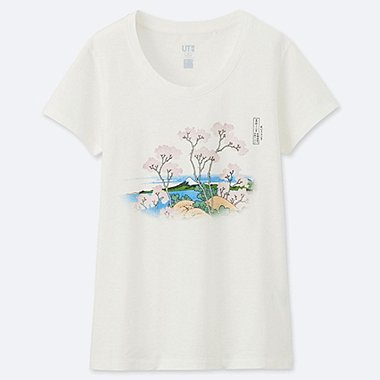 WOMEN HOKUSAI BLUE SHORT SLEEVE GRAPHIC T-SHIRT