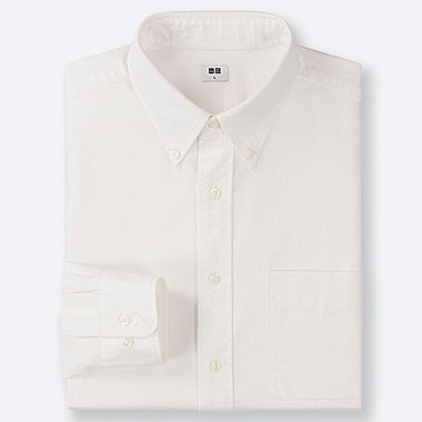 MEN OXFORD REGULAR-FIT LONG-SLEEVE SHIRT, OFF WHITE, medium