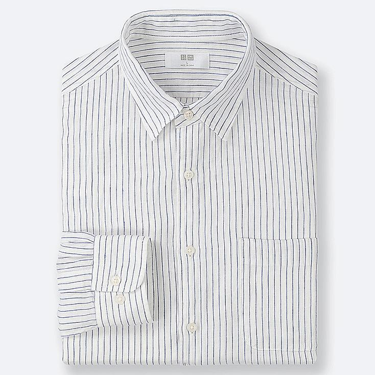 MEN PREMIUM LINEN STRIPED LONG-SLEEVE SHIRT, OFF WHITE, large