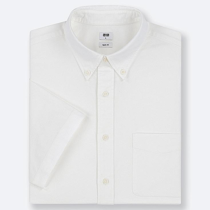 MEN OXFORD SLIM-FIT SHORT-SLEEVE SHIRT, OFF WHITE, large