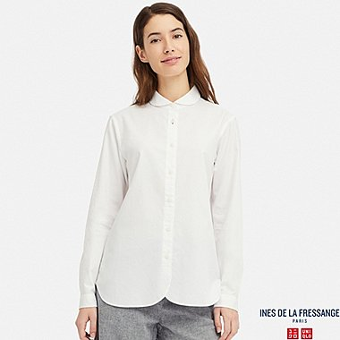WOMEN COTTON TWILL ROUND COLLAR LONG-SLEEVE SHIRT (INES DE LA FRESSANGE), OFF WHITE, medium