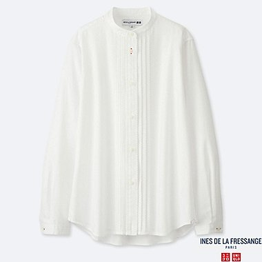 WOMEN COTTON TWILL PINTUCK LONG-SLEEVE SHIRT (INES DE LA FRESSANGE), OFF WHITE, medium
