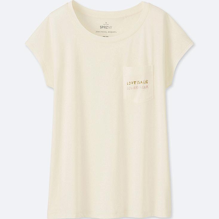 WOMEN SPRZ NY SHORT-SLEEVE GRAPHIC T-SHIRT (JEAN-MICHEL BASQUIAT), OFF WHITE, large