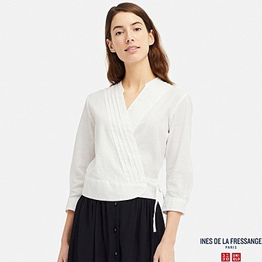 WOMEN LINEN COTTON WRAP 3/4 SLEEVE BLOUSE (INES DE LA FRESSANGE), OFF WHITE, medium