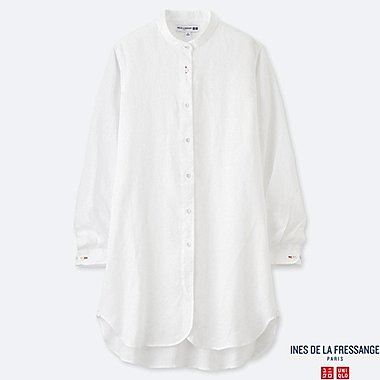WOMEN LINEN LONG-SLEEVE TUNIC (INES DE LA FRESSANGE), OFF WHITE, medium