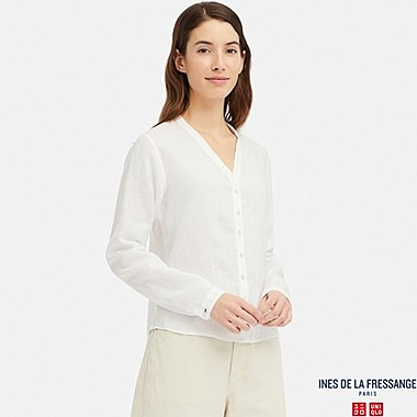 WOMEN LINEN V-NECK LONG-SLEEVE BLOUSE (INES DE LA FRESSANGE), OFF WHITE, medium