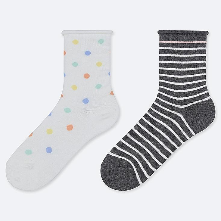 GIRLS REGULAR SOCKS (SET OF 2), OFF WHITE, large