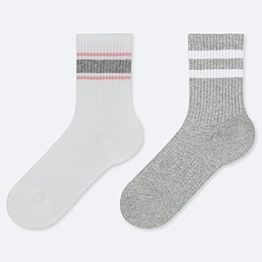 GIRLS STRIPED REGULAR SOCKS (TWO PAIRS)