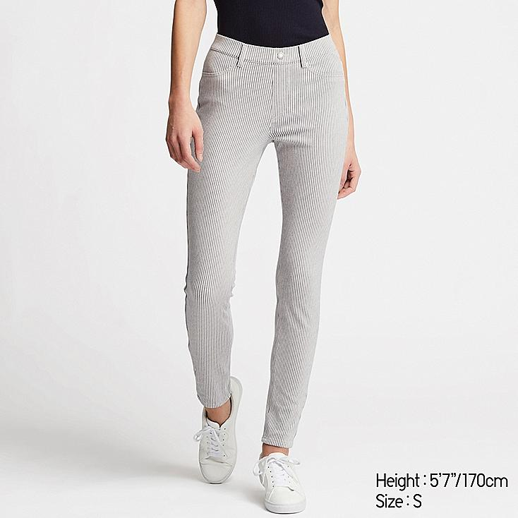 WOMEN ULTRA STRETCH PRINT LEGGINGS PANTS, OFF WHITE, large