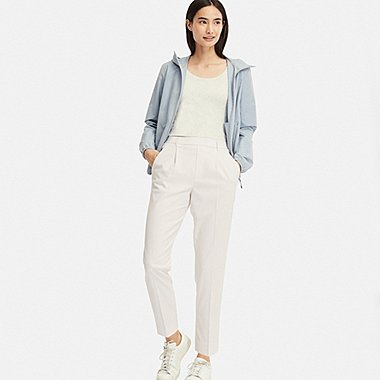WOMEN EZY TUCKED ANKLE-LENGTH PANTS (STRIPE), OFF WHITE, medium