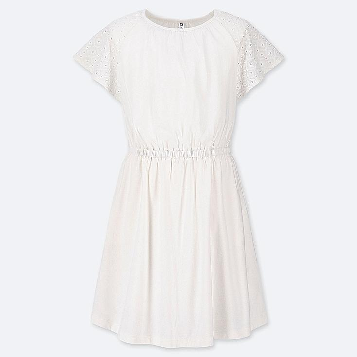 GIRLS LACE SHORT-SLEEVE DRESS, OFF WHITE, large