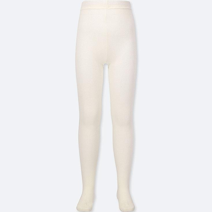 GIRLS KNITTED TIGHTS, OFF WHITE, large