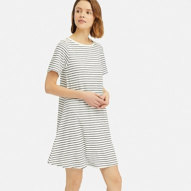 WOMEN AIRism PILE DRESS (WITH PADDING), OFF WHITE, medium
