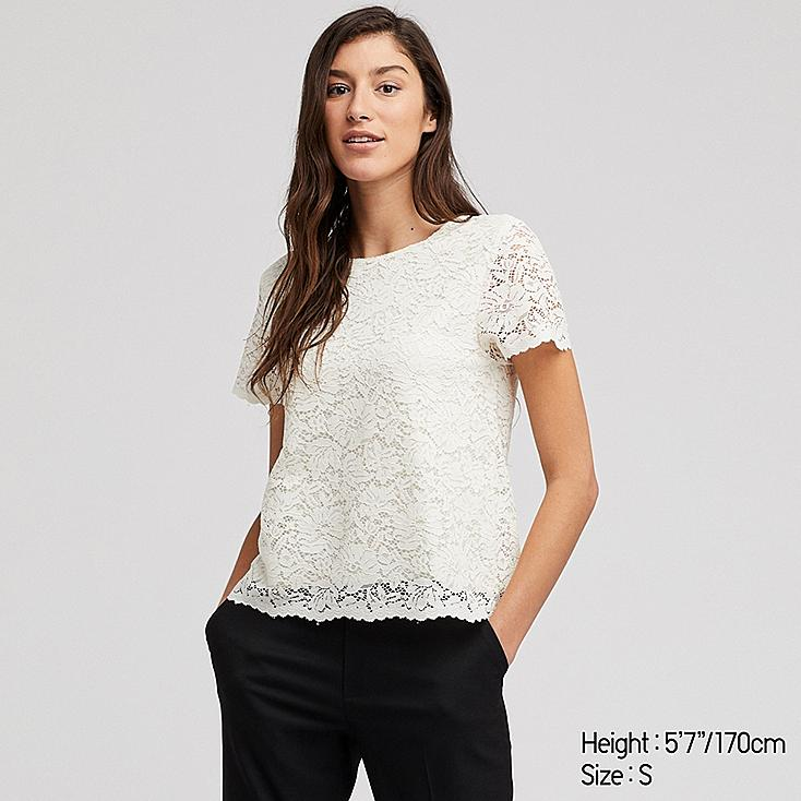 WOMEN LACE SHORT-SLEEVE T-SHIRT, OFF WHITE, large