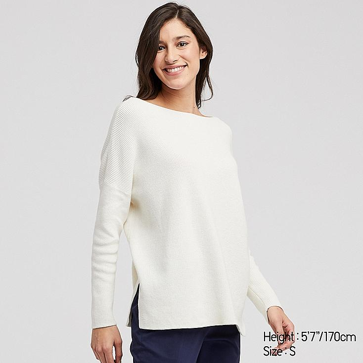WOMEN COTTON CASHMERE BOXY BOAT NECK LONG SWEATER, OFF WHITE, large