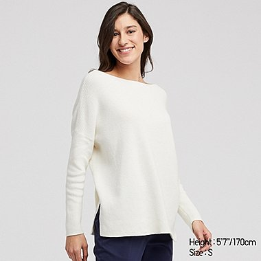 WOMEN COTTON CASHMERE BOXY FIT BOAT NECK JUMPER